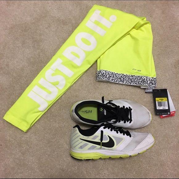 "Nike Pro Leggings Women's Nike Pro leggings. Bright yellow with white ""just do it"" down the left leg. NWT! Nike Pants Leggings"