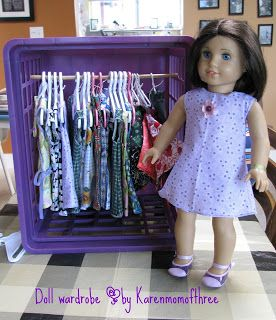 Use a plastic crate and dowel for doll and Build-a-bear clothes storage