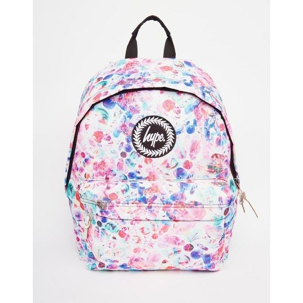 Hype Backpack in Multi Colored Polka Dot ($43) ❤ liked on Polyvore featuring bags, backpacks, multi, pink polka dot bag, pink backpack, polka dot backpack, colorful bags and zip bags