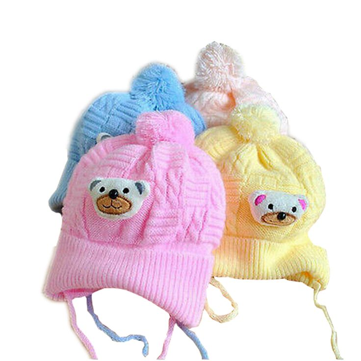 1 PCS Baby hat Boy Girl Infant Toddler Cute Soft Crochet Bear Hat Warm Newborn Cap Baby Photography prop Crochet baby Hat