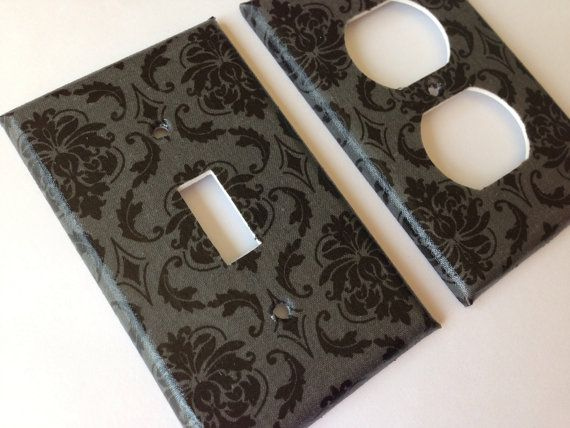 Black Gray Damask SIngle Light Switch Cover / Gray Home Decor / Gray Bathroom Decor / Grey Bedroom Decor / Housewarming Gift Gothic Decor