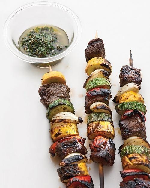 Sirloin and Summer-Vegetable Kebabs with Chimichurri Recipe | Martha Stewart