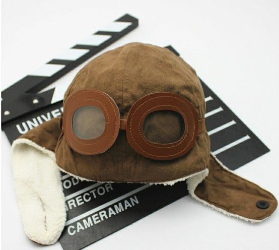 Soft cotton hat with ear flaps - the goggles actually go over the eyes!  www.nanokidsco.com