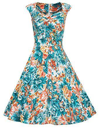 Vestido retro años 50 estampado floral, primavera verano