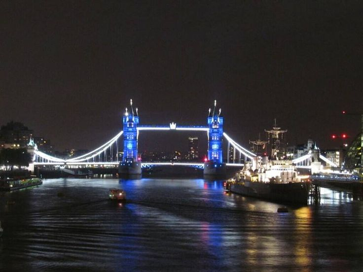 Tower Bridge, London, lit up in blue for the baby prince born today, July 22, 2013