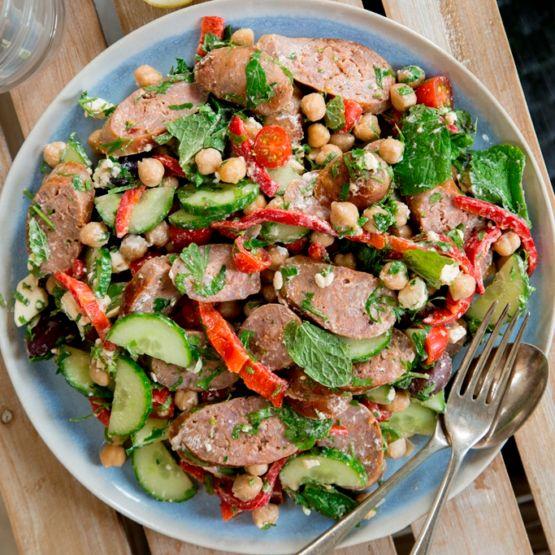 Greek-style Lamb Sausage Salad by Nadia Lim | NadiaLim.com
