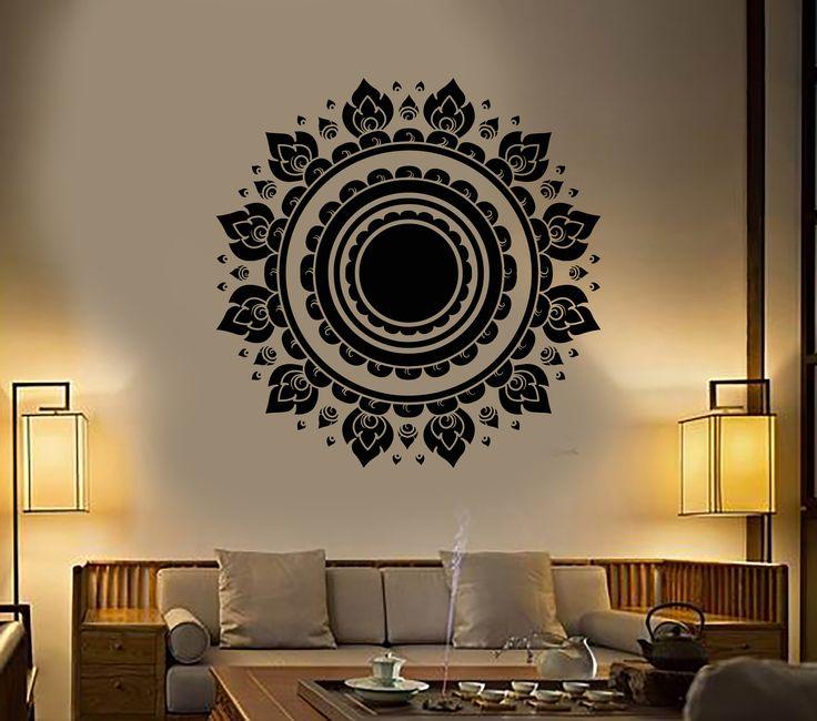 Vinyl Wall Decal Mandala Lotus Flower Buddhism Yoga Meditation Stickers (1427ig)