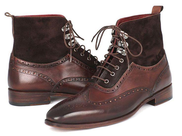 Paul Parkman Men's Wingtip Boots Brown Suede & Calfskin (ID#991-BRW)