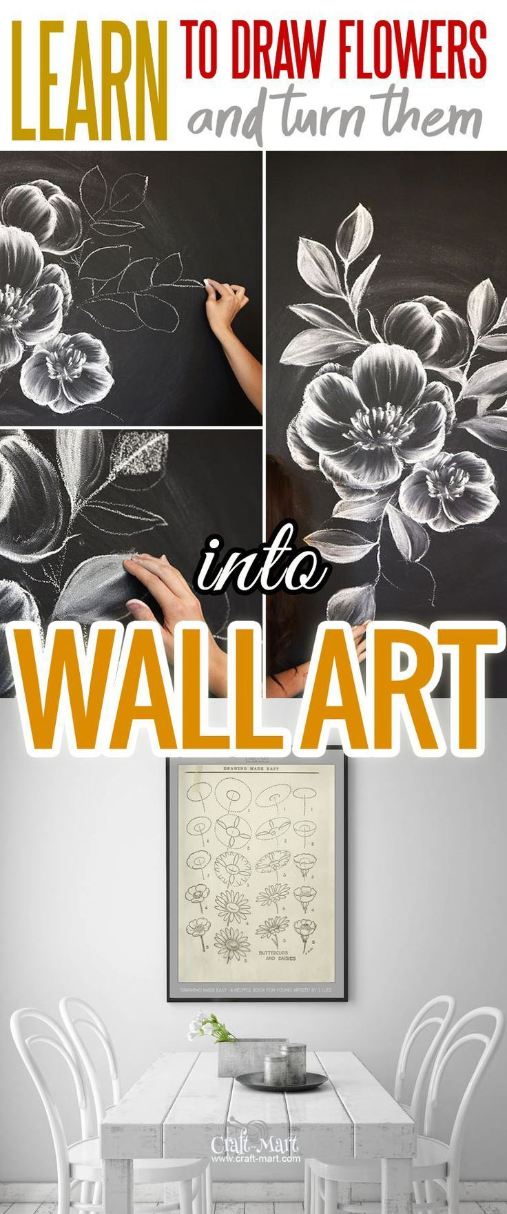 How to draw flowers and turn these drawings into really cool wall ...
