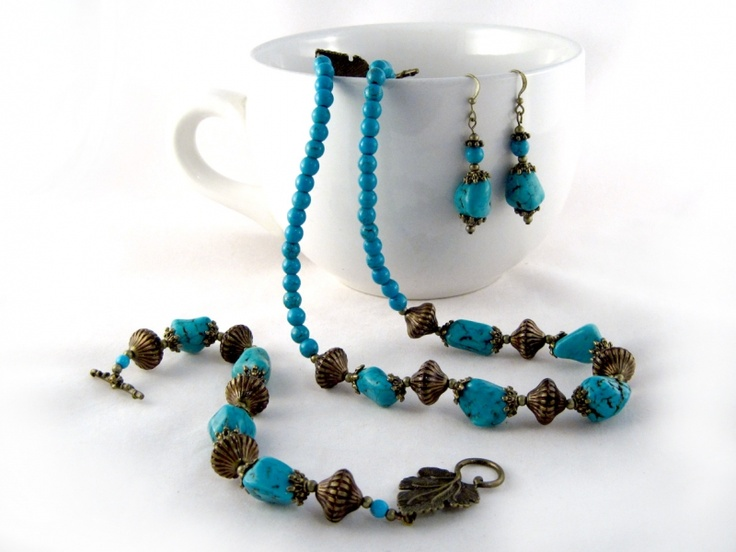 Egyptian Maiden set $46.00 Ladies beaded necklace, and earrings set. Howlite, Swarovski crystal, Czech glass seed beads, and Tibet silver on tiger's tail wire, and silver plated wire.