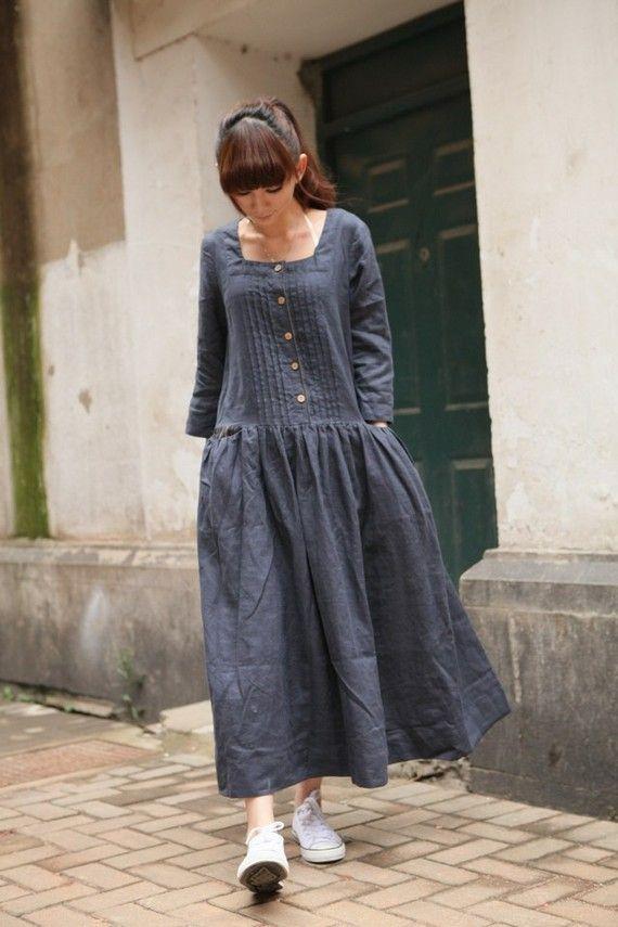 gray stripe pattern long sleeve sundressmore by FashionColours