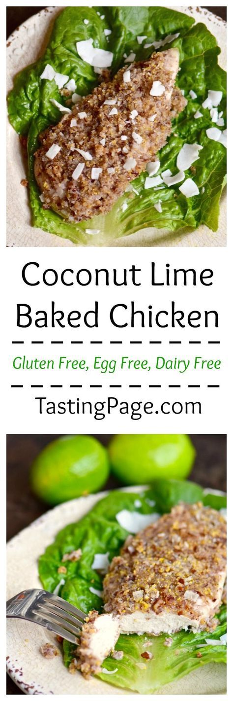 Update your chicken tender recipe with this healthier, gluten free, dairy free baked Coconut Lime Crusted Chicken | TastingPage.com      NewComfortFood AD