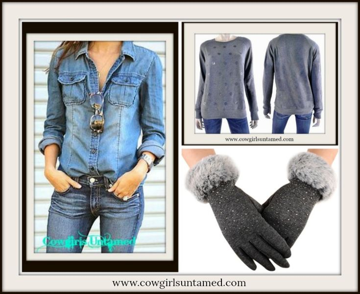 COWGIRL GLAM GLOVES Silver & Crystal Studded Sparkle Soft Fur Gloves / Jean Shirt/ Grey Pullover Polka Dot Sweater  #gloves #bling #fur #studded #mittens #jean #jeanshirt #denim #top #sweater #polkadot #sparkle #fashionista #cowgirl #western #bohemian #cowgirl #fashion #style #boutique #beautiful #wholesale #gift #onlineshipping