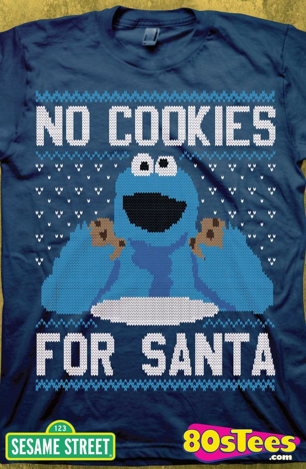 Cookie Monster Ugly Christmas T-Shirt: Sesame Street Mens T-Shirt Featuring the popular star from books, films, and videos and designed and illustrated to look like a sweater, this shirt is perfect for any holiday event.