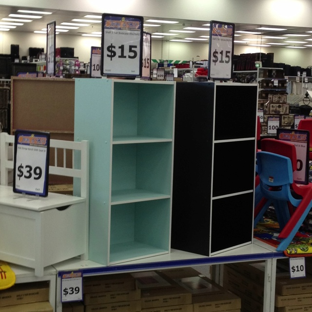 Aqua 3 Tier Bookcase from Cheap As Chips (AUD $15).