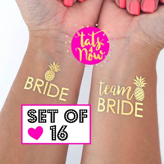 Team Bride tattoos for bachelorette party and hens party . temporary tattoo tato tatoo . summer wedding . beach party . pineapple party