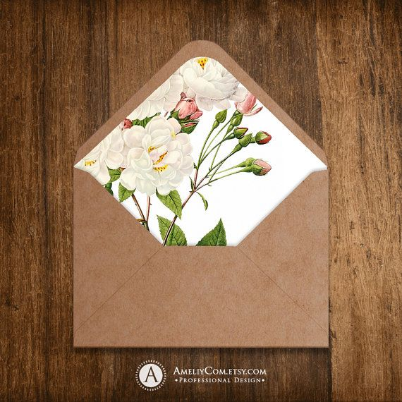 Printable Envelope Liner Template INSTANT DownLOAD for A6 and A7 Envelope Vintage White Roses - Floral digital paper 8,5 x 11 for  Weddings Buy it now: https://www.etsy.com/listing/221852499/printable-envelope-liner-template