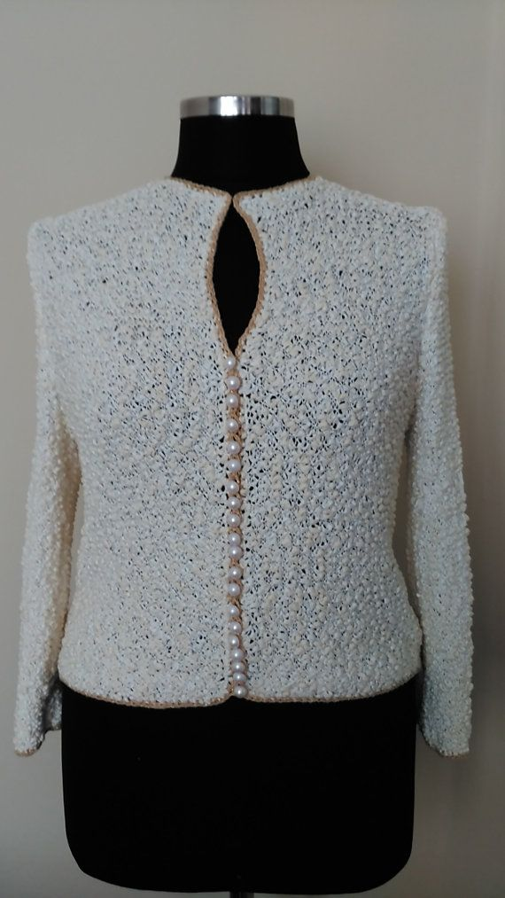 Women's Cardigan,   Hand-knitted jacket,  Ivory Cardigan, Channel Style,  Creame sweater