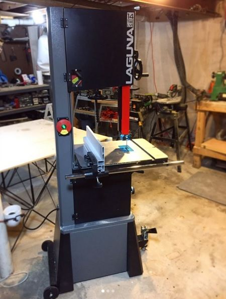 Nathan G. of @theundergroundshop and his 1412 Laguna Bandsaw.  #laguna #bandsaw #lagunatools #newtools #tools #basement #kc #woodworking #woodworker #kansascity #diy #diyprojects #doityourself #handmade #woodworker #wood #woodshop #woodporn #hobby