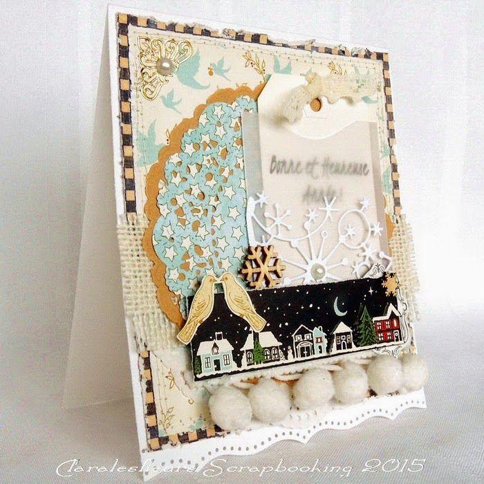 Claralesfleurs Scrapbooking 2014 - Une carte de Bonne Année avec étampe texte collection Bonne Année de Simple à Souhait...