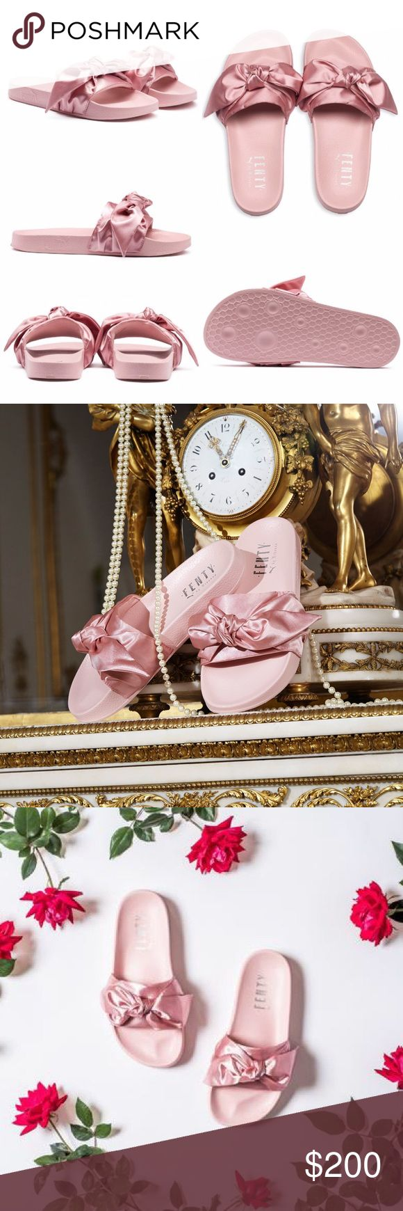 Fenty x PUMA Pink Bow Slides 🎀 Pink satin bow slides from Rihanna's S/S 2017 collection available in multiple sizes. Soft foam backed strap and contoured footbed for comfort. Runs large, size down! All new in box - will ship double boxed for protection. Offers welcome through button only❣❣ I take pictures, record and weigh all packages before shipping. No trades. All sizes on hand - shipping next day! Sizes subject to availability. Size on sole is UK sizing. Please ask any and all questions…