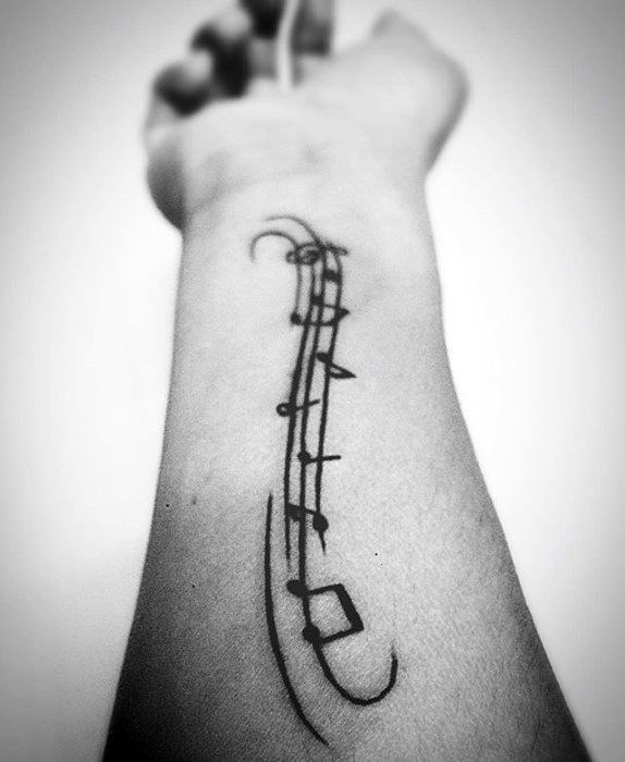 Inner Forearm Simple Music Notes Guys Tattoo Designs