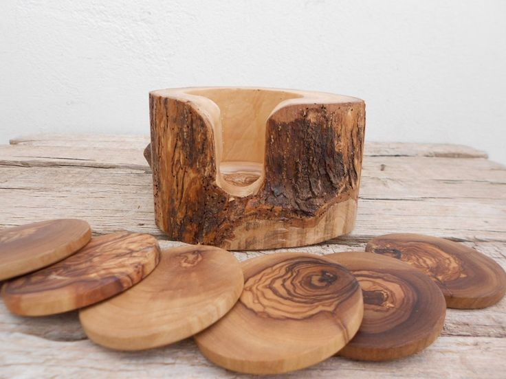 Engraved Rustic Wedding Decor Gift, Olive Wood Rustic Coaster set with Rustic Holder, Natural Edges Wooden Coaster set