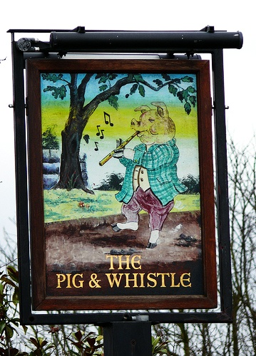Pub Signs: The Pig and Whistle, Hertfordshire, England