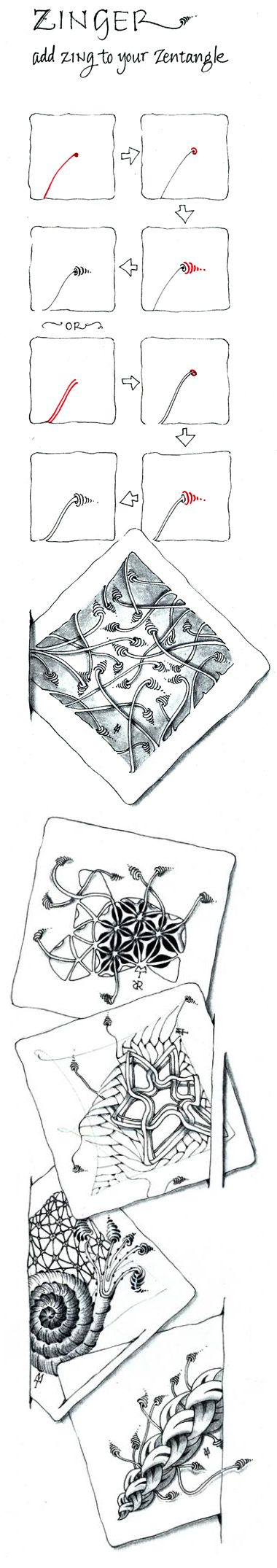 Zinger. official Zentangle with examples/variations.