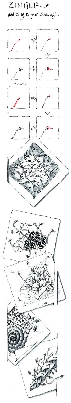 Official Zentangle Pattern: Zinger [X]. Category: Filler, free.