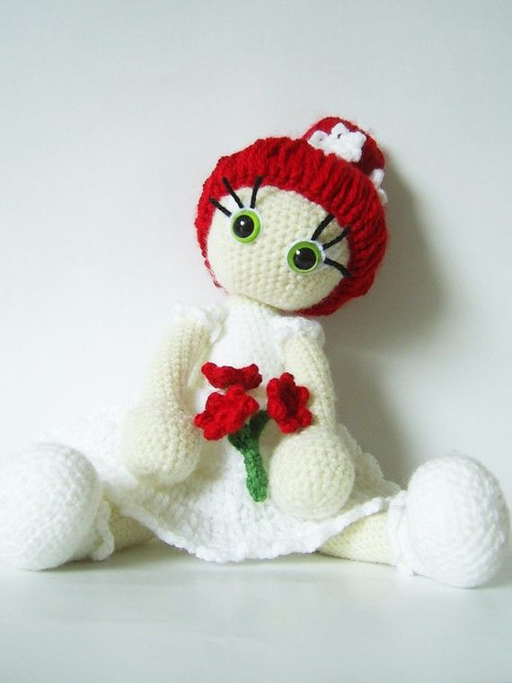 Bride, unique crochet art doll soft toy spring red white green