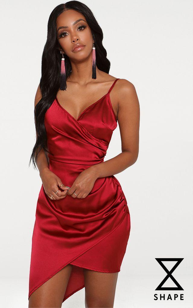 9bf19c62119c Shape Burgundy Satin Wrap Dress