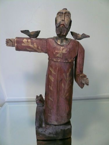 Antique Primitive Folk Art Hand Carved Wood St Francis w Birds Dog Sculpture 18"