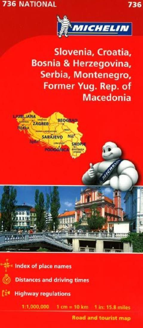 Slovenia, Croatia, Bosnia-Herzegovina, Yugoslavia and Macedonia (736) by Michelin Maps and Guides