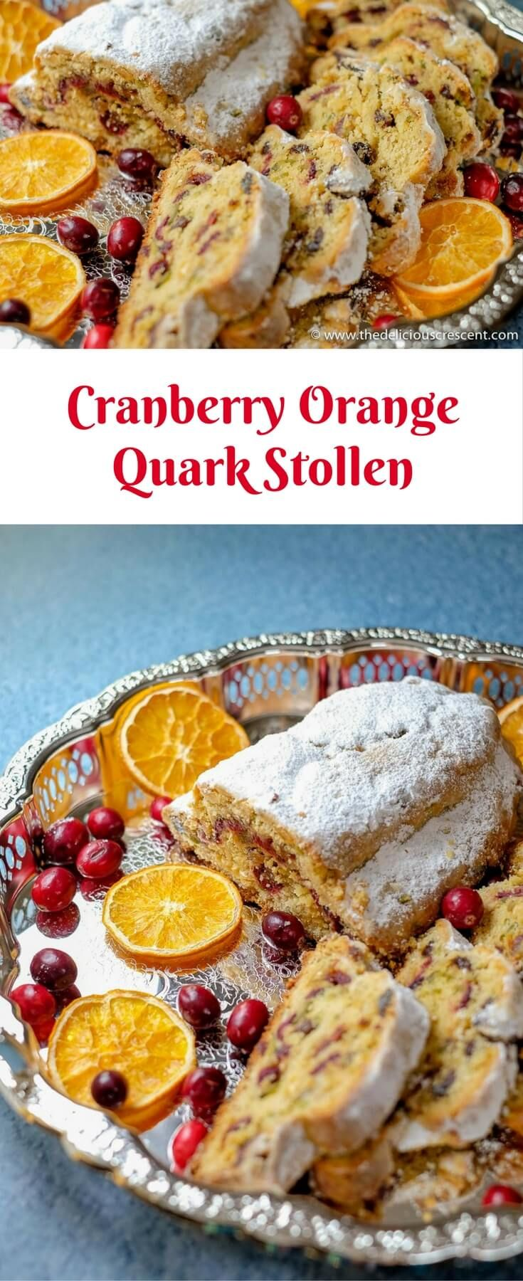 Cranberry Orange Quark Stollen, a much easier and quicker stollen recipe is scrumptious and moist. It is packed with dried fruits, nuts and infused with a variety of flavors. It tastes decadent but uses less refined sugar than comparably rich cake recipes.   #cranberry #stollen #baking #bread #Germanbaking #cake #fruitcake #driedorange   via @TDCrescent