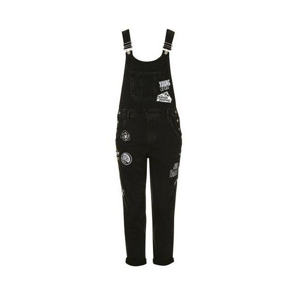 TopShop Moto Badged Long Dungarees ($100) ❤ liked on Polyvore featuring jumpsuits, washed black, topshop, topshop jumpsuit, cotton jumpsuit and long jumpsuit