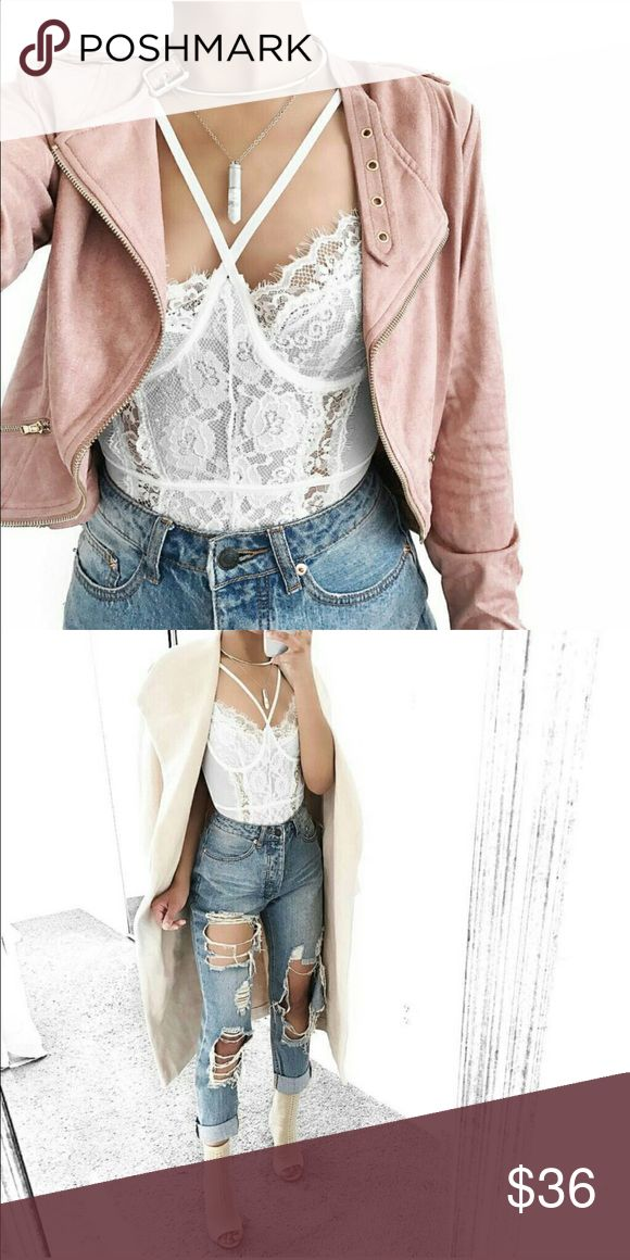 White Lace bustier bodysuit White lace bustier bodysuit.. looks great paired with distressed jeans Missguided Tops