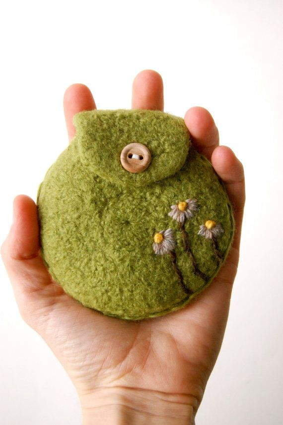 Flower Change Purse Felted Wool in Lime Green by shmugusta, $14.00