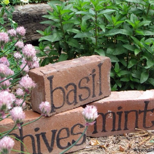 Brick herb markers for your garden,... Pretty cute and I wouldn't have to worry about those little plastic markers flying away ...