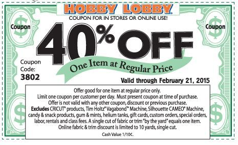Hobby Lobby Coupon valid through 2/21!