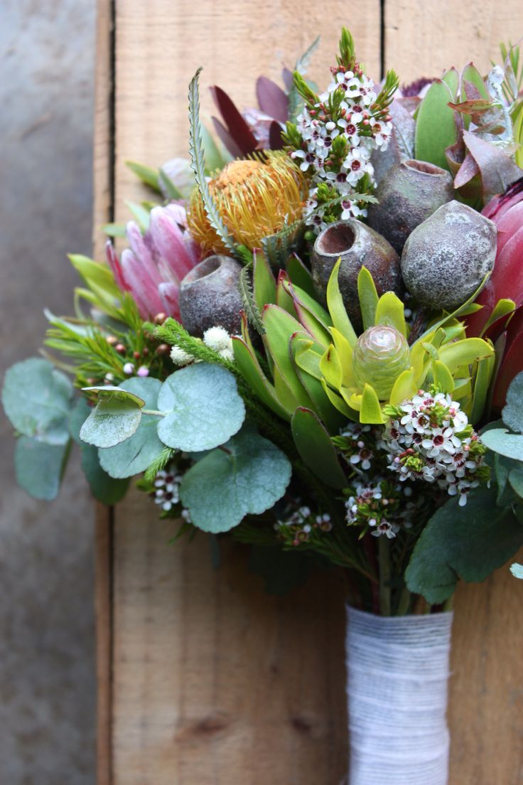 Summer Native Bouquet with gumnuts, wax flower, protea, leucadendron and dryandra.  Swallows Nest Farm