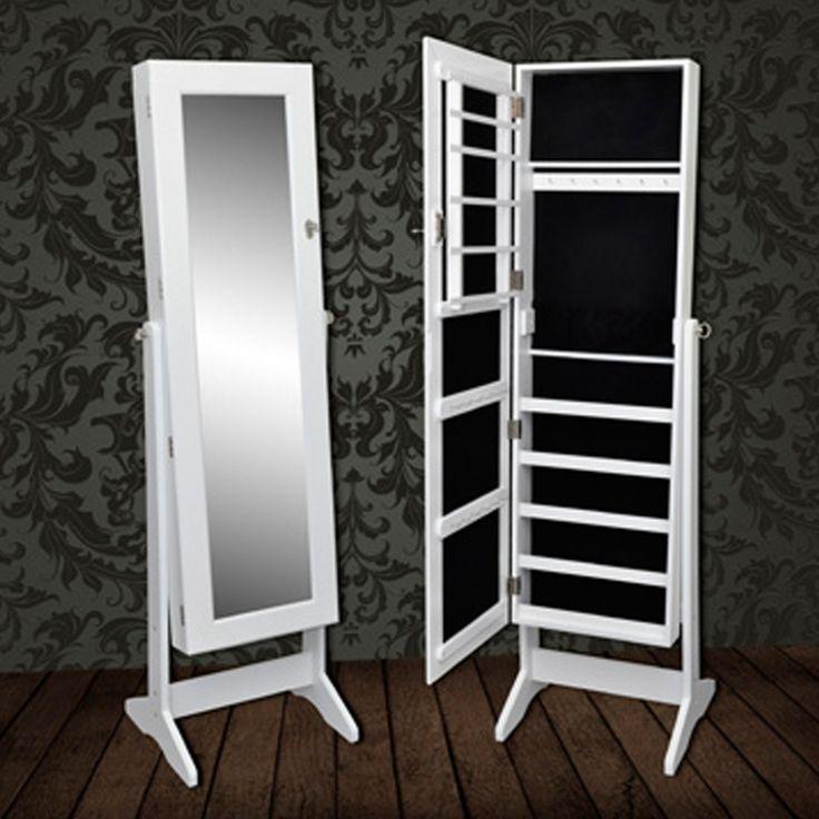 Schrank für Schmuck mit Stand Spiegel. Der Schmuckschrank mit Spiegel hat verschiedene Hakenleisten, Fächer und Klemmbretter. Im Schmuckschrank weiß lässt sich viel Schmuck unterbringen. Der Schmuc