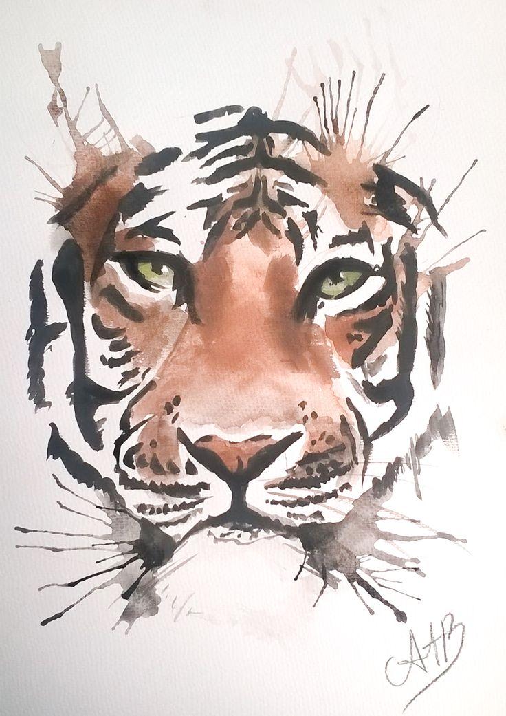 waterpainting tiger - made by AstridtenBosch - https://www.facebook.com/pages/AstridtenBosch-Art/562052023904627