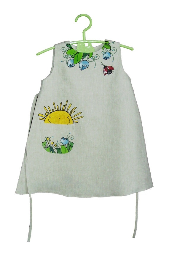 Girls dress in light grey color linen  painted by InGAartWork, $46.00