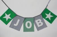 Naamslinger JOB (grijs-groen) | www.dekleineauto.nl