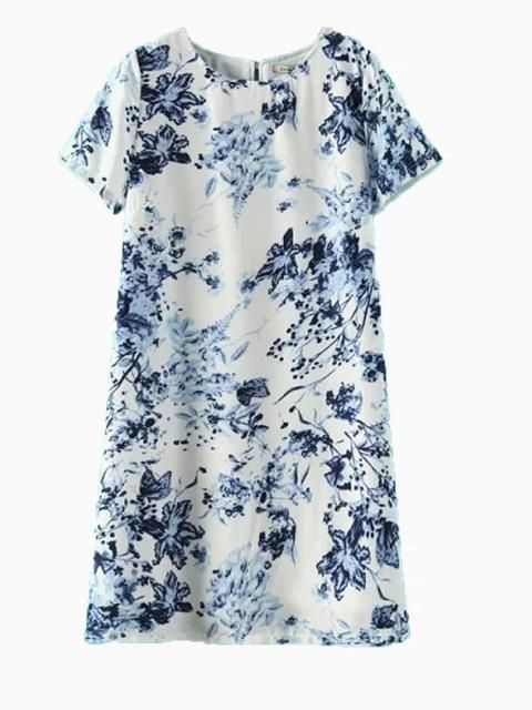 blue and white floral shift