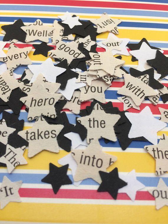 500 Paper confetti STARS Book page star decorations Black