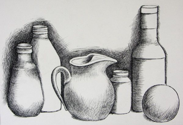 Easy Still Life | student drawing-cross hatch pen and ink