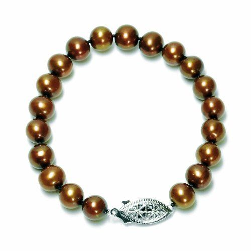 "Sterling Silver Dyed Chocolate Freshwater Cultured Pearl A Grade 7.5-8mm Bracelet, 7.25"" Amazon Curated Collection. Save 66 Off!. $42.00. Pearls may have been treated to improve their appearance or durability and may require special care.. Made in China"