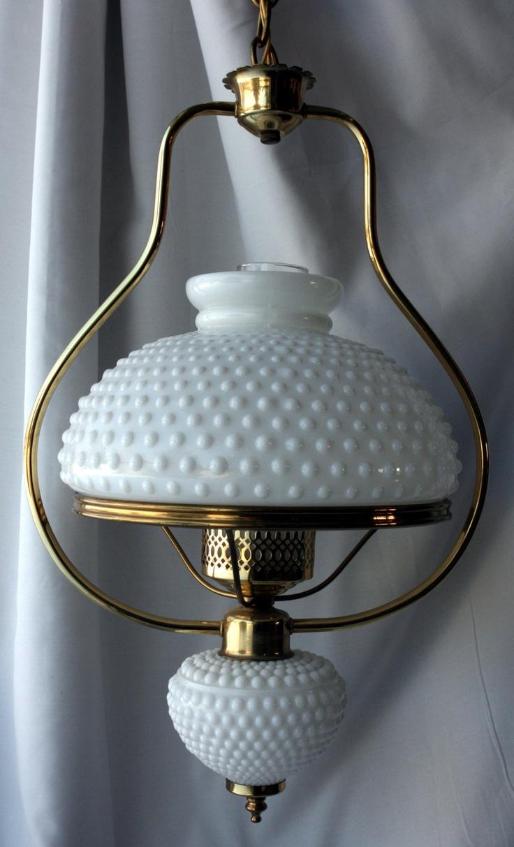 Vintage Retro 1950s Mid Century White Hobnail Milk Glass Light Chandelier 180 00 Via